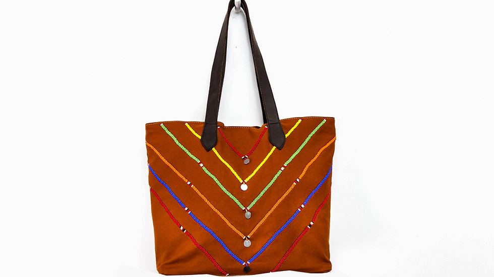 Queen Bead Tan Multi-coloured Beaded Mtindo Tote Bag