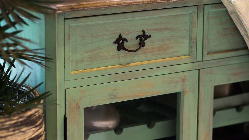 Green Distressed Wooden Wine Cabinet