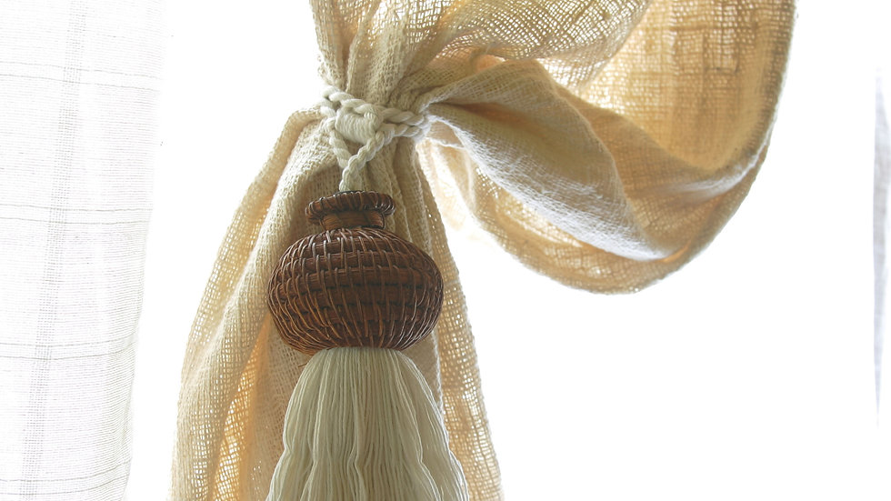 Rattan & Shell Balinese Tassle Tie-Backs