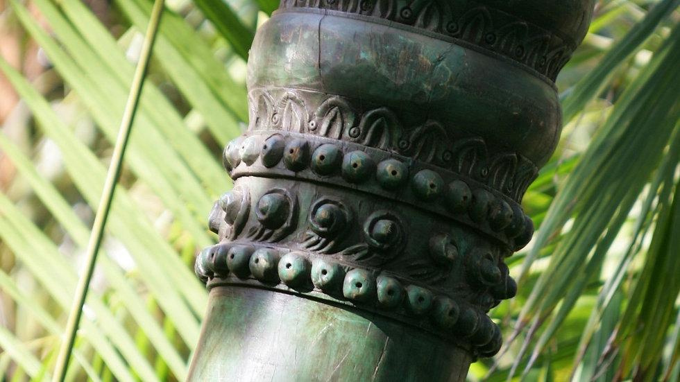 antique Indian Green Wooden Pillars