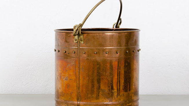 Antique Copper Firewood Bucket