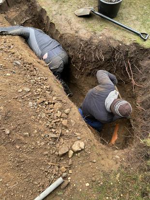 Výkopová oprava ležaté kanalizace