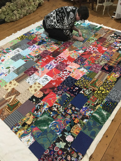 Layers of Quilt pinned together