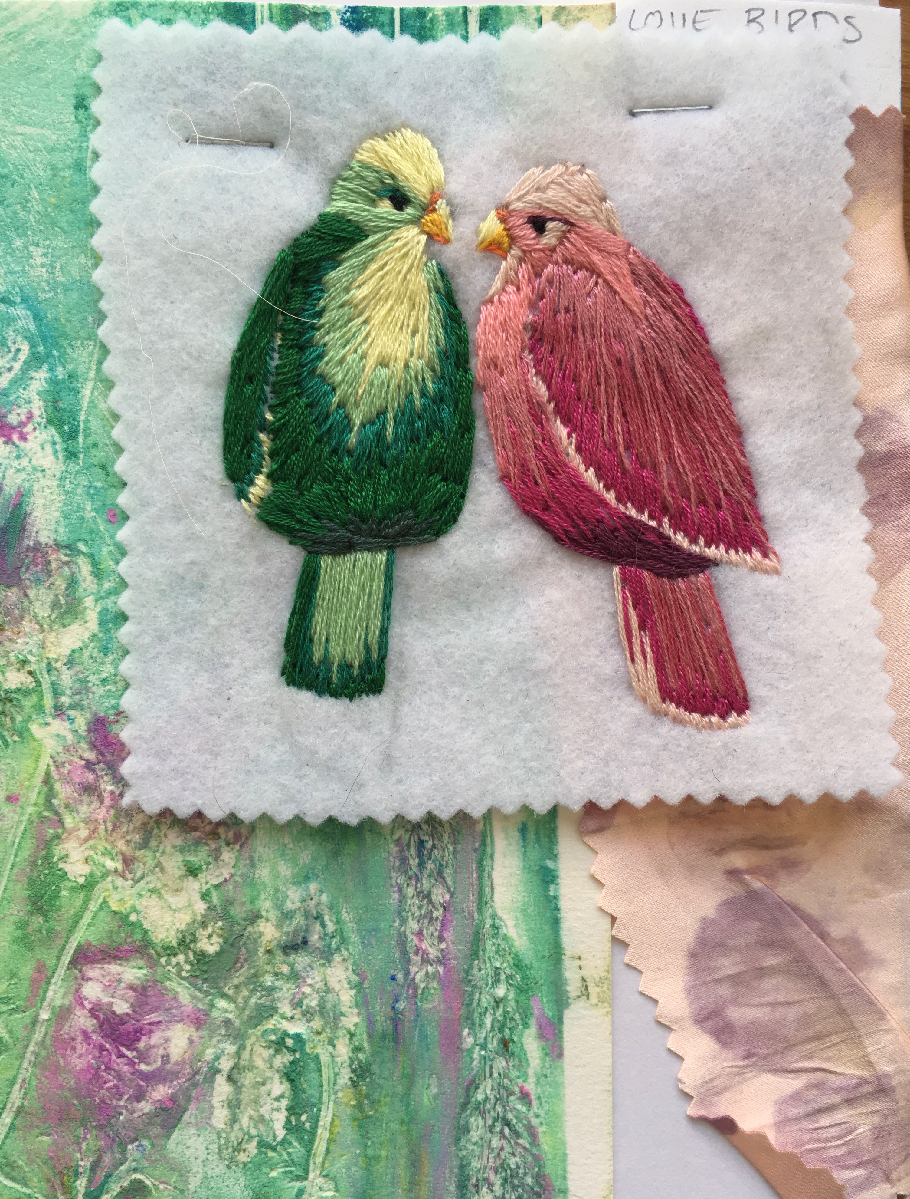 Embroidered love birds