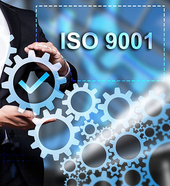 "Glowing gear with icon ""ISO 9001"" in the"