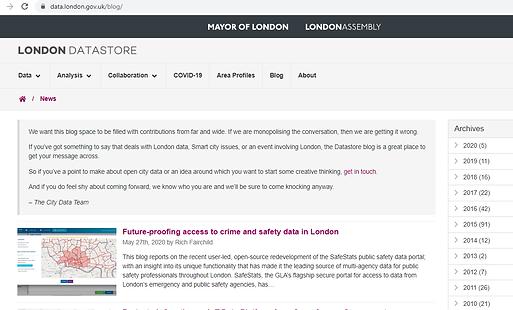 Blog London Data Portal