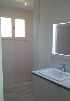 rénovatin, salle de bain, travaux, peinture, sol, meuble sur mesure