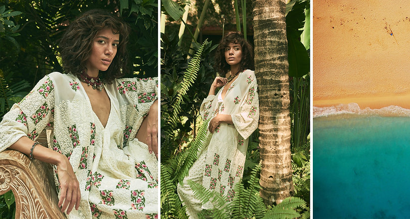Tropical Shoot of model in white floral outfit by fashion photographer