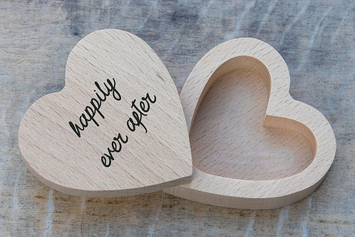 happily ever after wooden wedding ring box eco-friendly natural