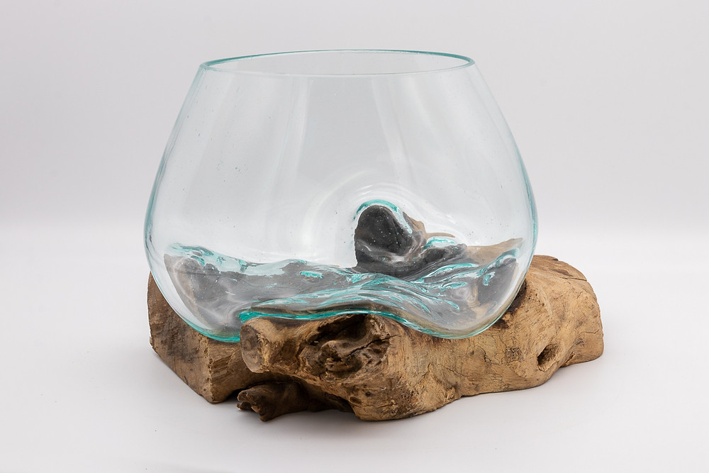 Eco-Friendly Recycled Glass and Reclaimed Teak Bowl / Terrarium