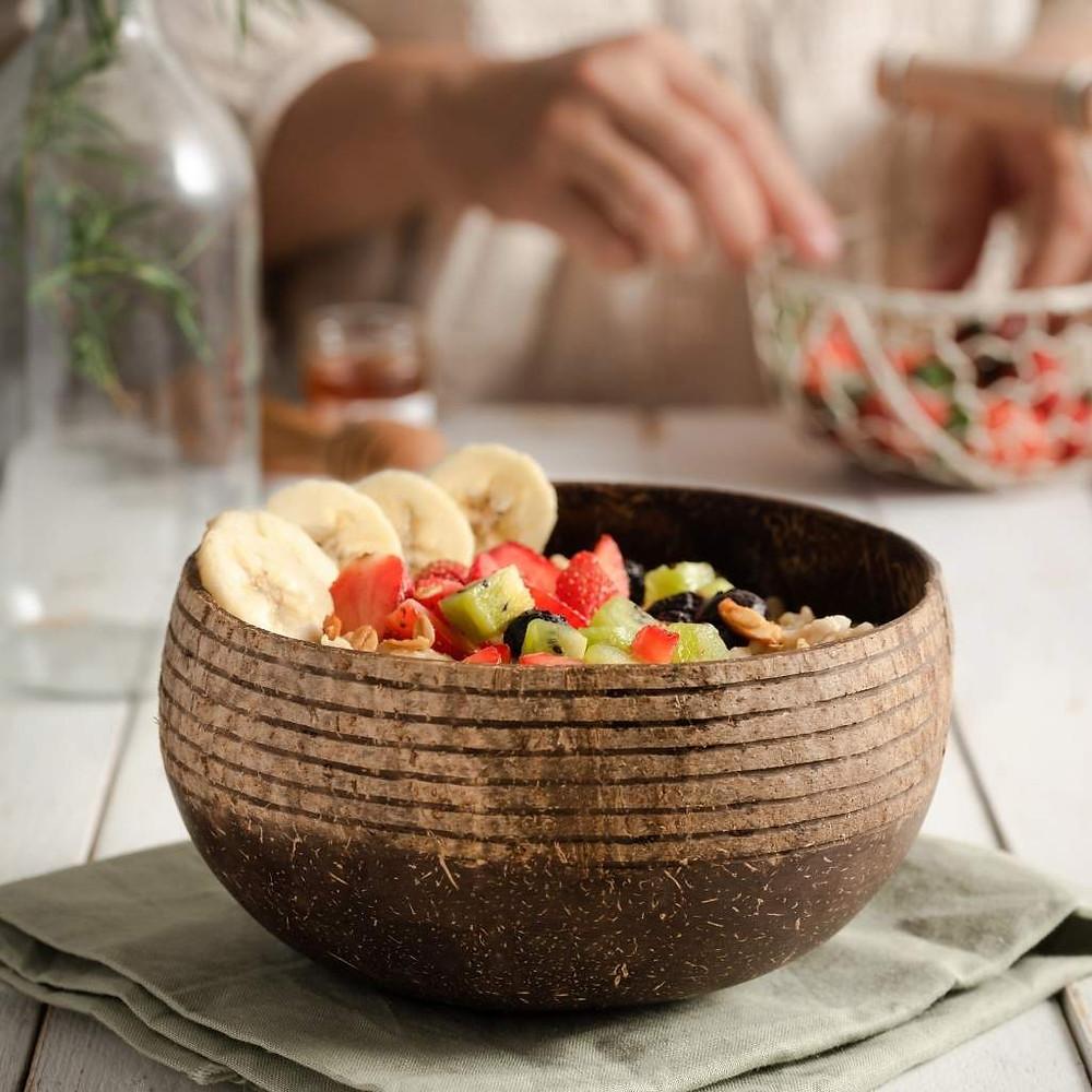 Eco-friendly zero-waste plastic free organic natural coconut bowl