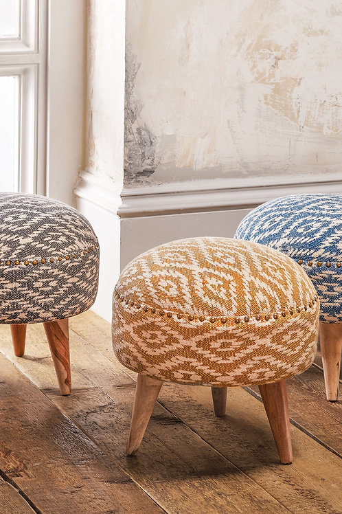 100% Recycled Cotton Handmade Large Footstool/Stool