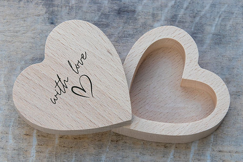 With Love heart shaped ring box eco-friendly zero-waste wooden natural