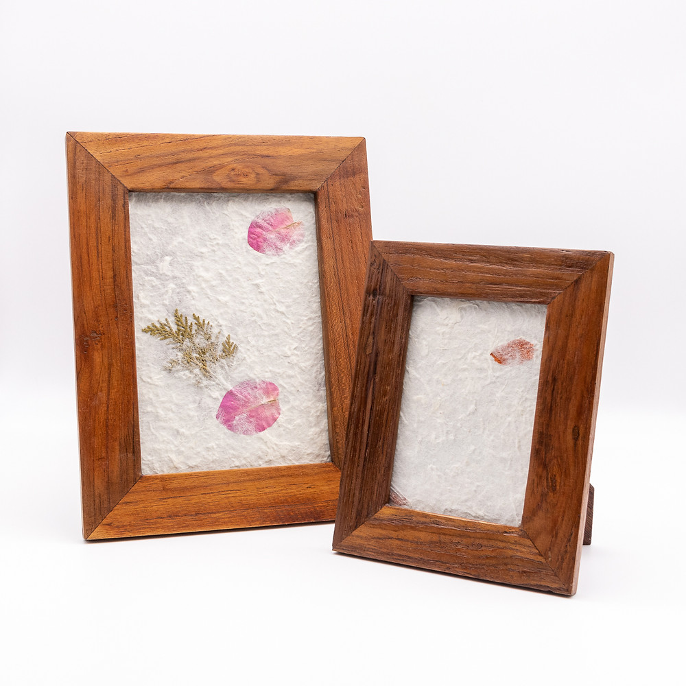 Ethical eco-friendly fairtrade wooden natural reclaimed teak Thai photo picture frames