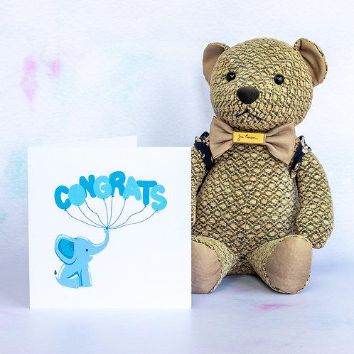 Baby Elephant New Baby Card - Blue