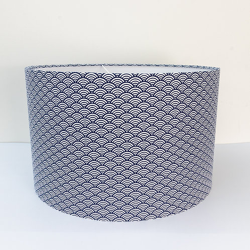 Japanese hand-block print cotton fabric drum lampshade
