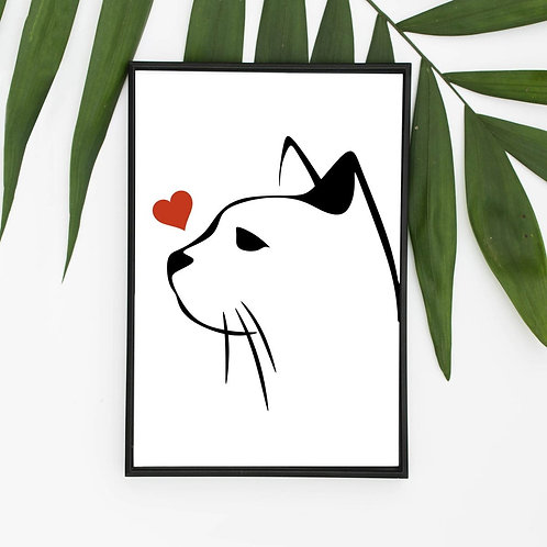 Eco Friendly A4 A3 Black and White Cat Art Print Ethical FSC Silhouette Handmade