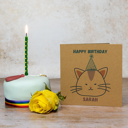 Personalised  cat recycled brown birthday card eco-friendly handmade