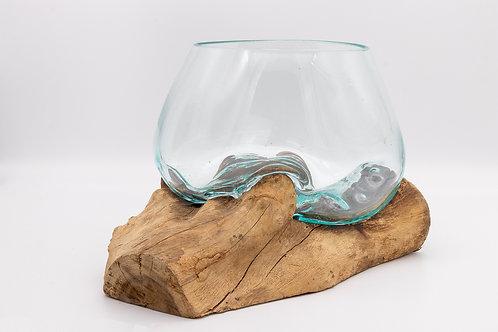 Fairtrade Handmade Balinese Reclaimed Glass & Teak Wooden Bowl / Vase