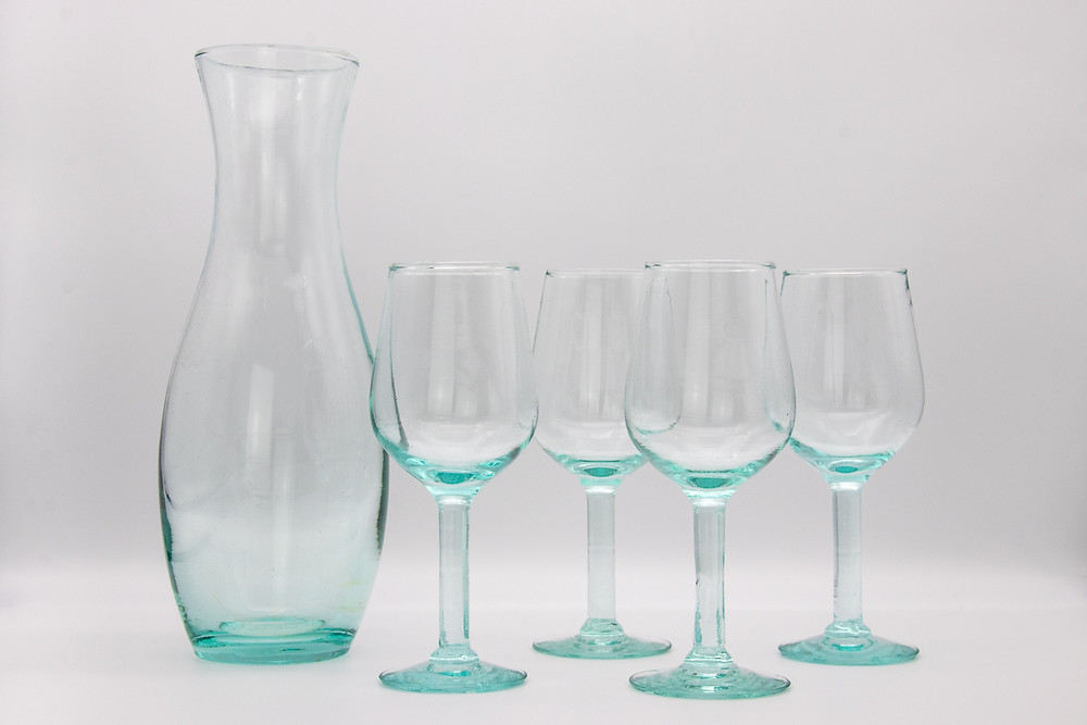 Eco-Friendly Recycled Fairtrade Glass Carafe and Wine Glass Set