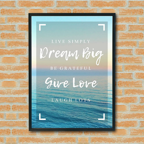 Eco Friendly A4 A3 Inspirational Quote Wall Art Print Beach Travel Simple Living Theme FSC Sustainable