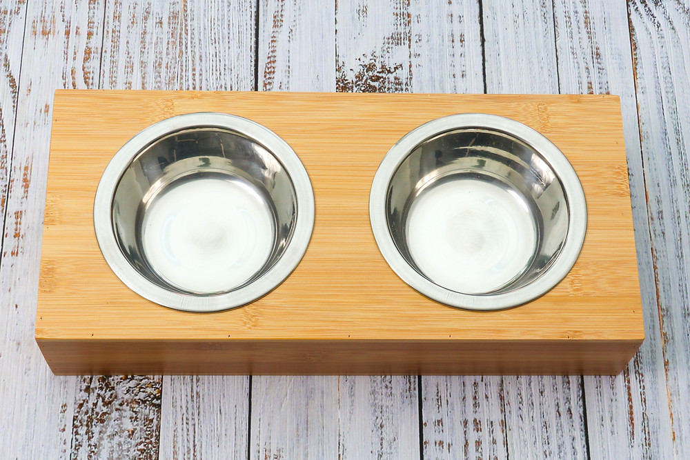 Eco-friendly bamboo duo double pet water food bowl feeder for cats dogs