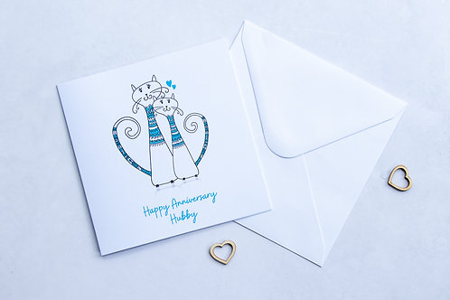 Eco-Friendly Zero-Waste Hand Made Personalised Non-Toxic Husband Wife Couples Anniversary Cat Card