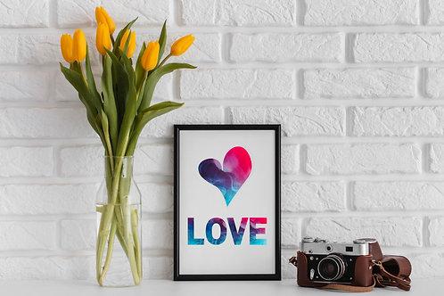 Love Heart Gradient Graphic Pink Blue & Purple Art Print A4 A3 Eco-Friendly Print Picture