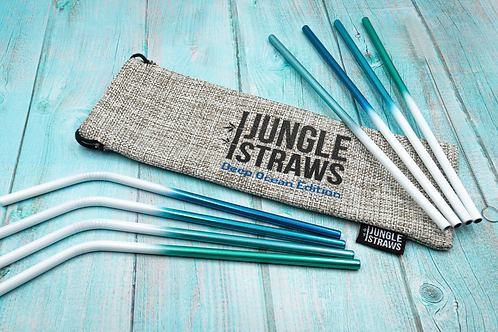 Organic Natural Plastic-Free Eco-Friendly Reusable Green Blue Stainless Steel Straws