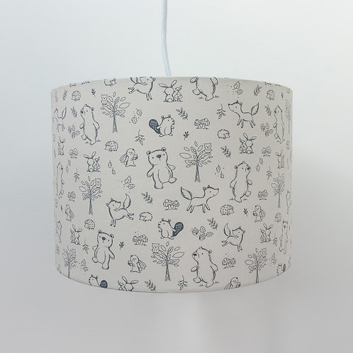 Children's Organic Ethical Eco-Friendly Cotton Woodland Animal Lampshade Nursery Unisex