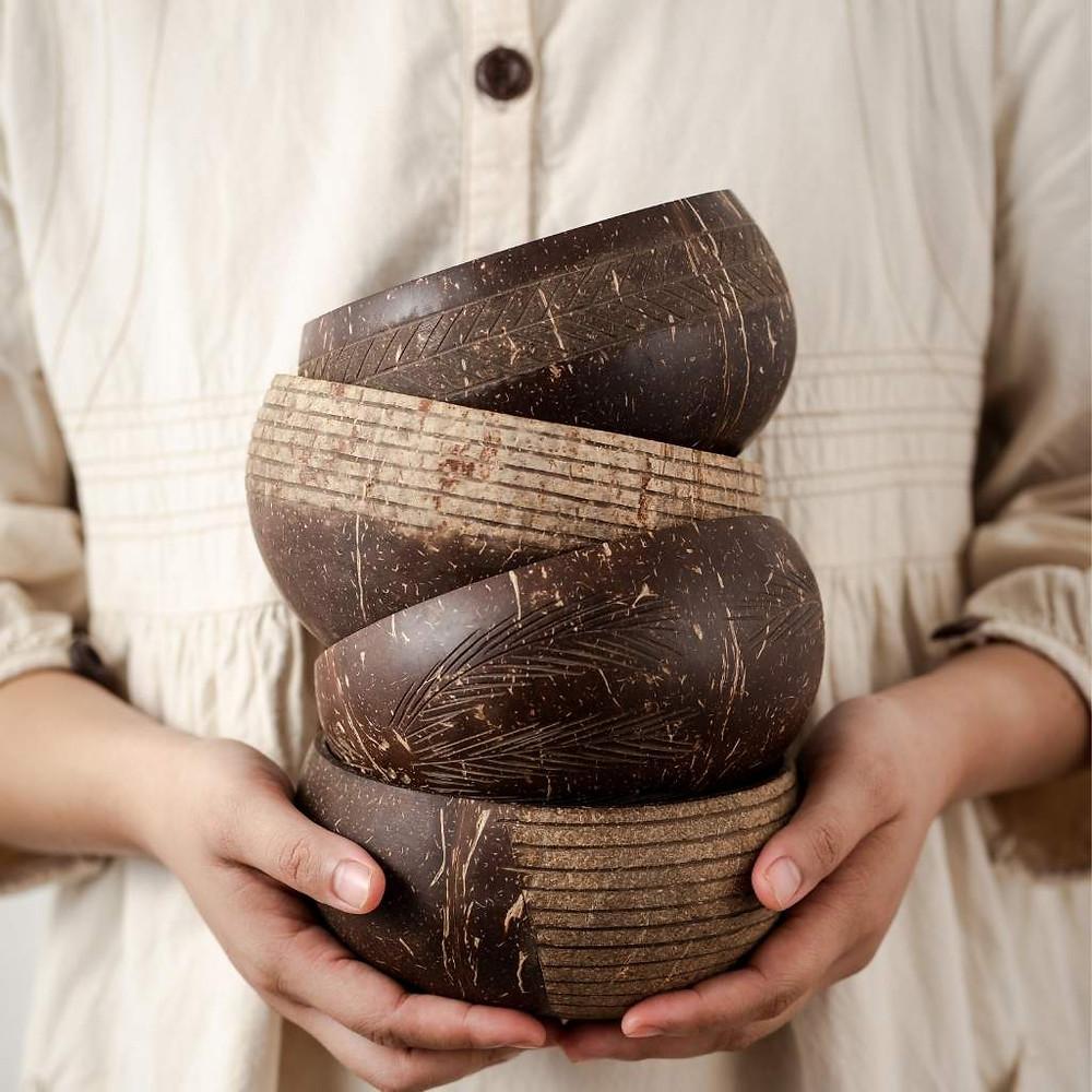 Organic eco-friendly coconut bowls