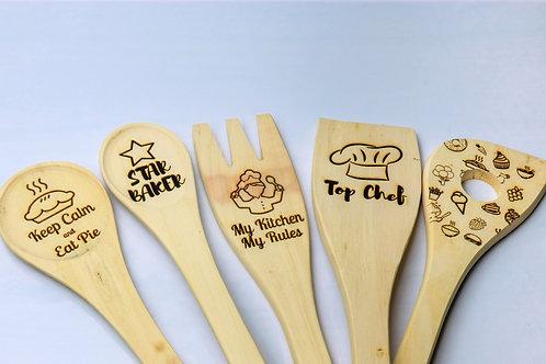 Engraved wooden spoon set eco-friendly utensils handmade personalised