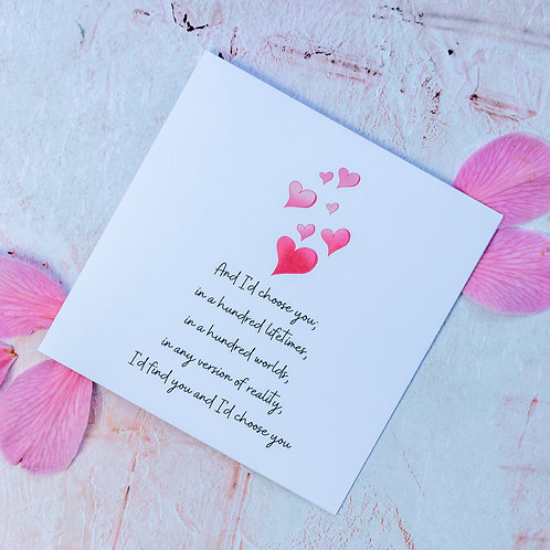 Romantic poem In Love birthday/anniversary/wedding/engagement cards - eco-friendly and handmade