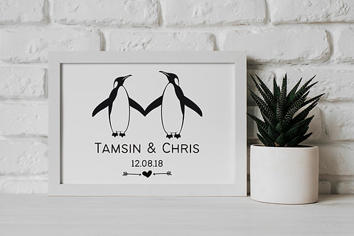 Personalised Penguin Couple - Wall Art Print Black and White Penguins FSC Certified Eco-Friendly FSC Certified Charitable