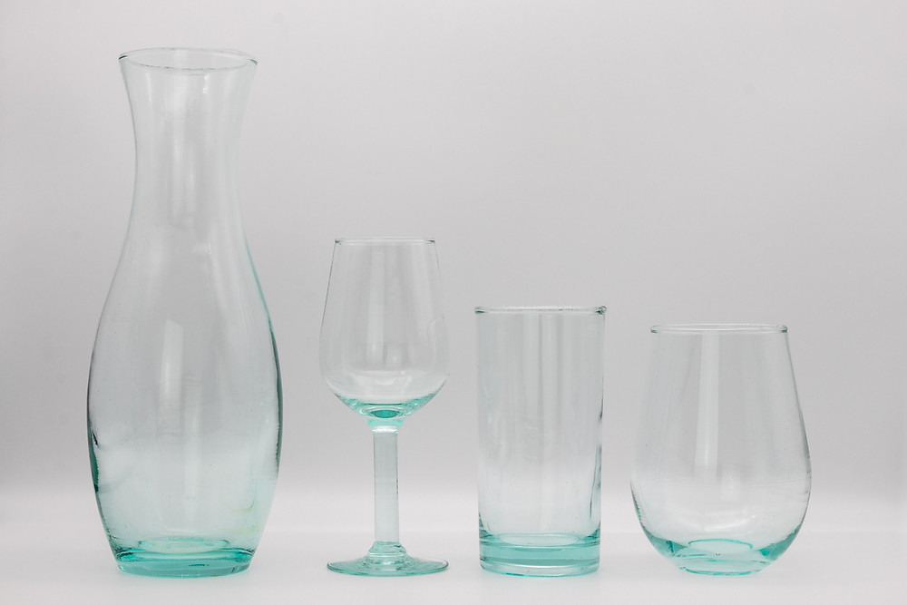 Eco-friendly fairtrade ethical recycled glass, glasses, wine glasses, tumblers and carafe set