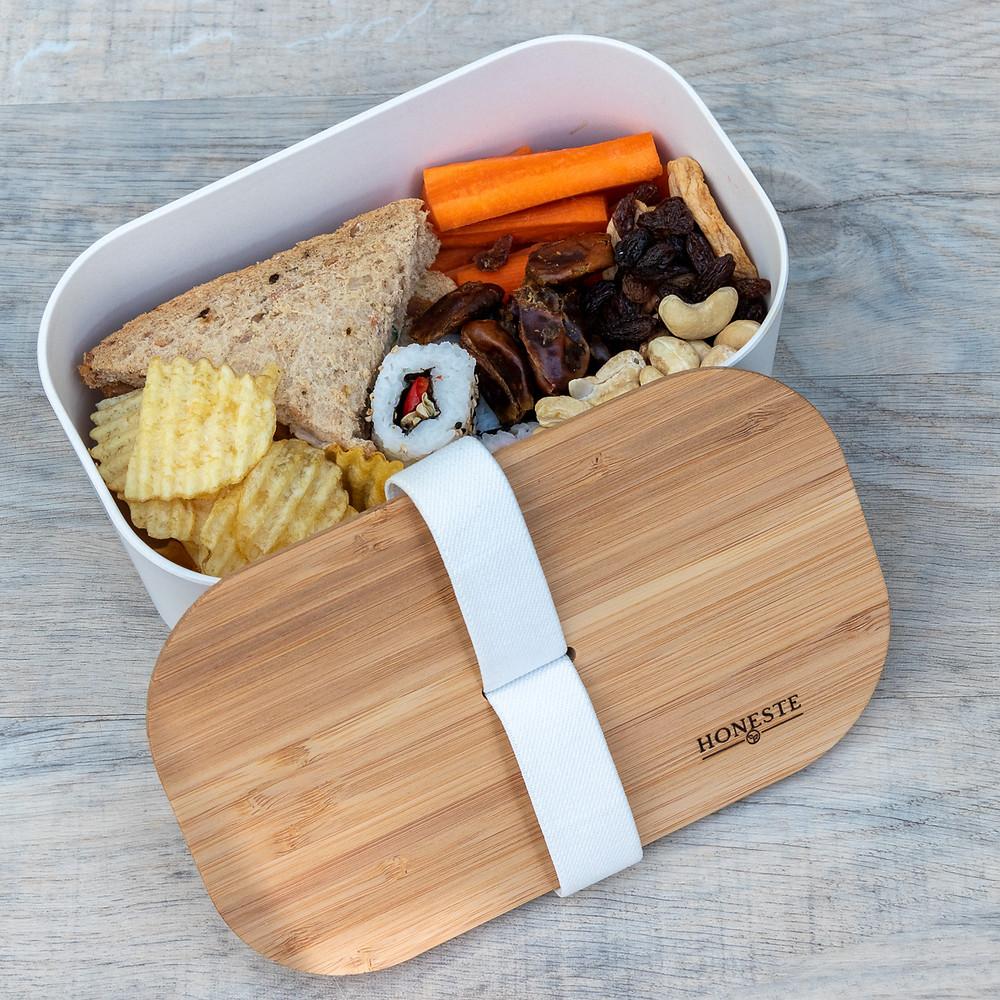 Eco-friendly bamboo lunch, storage, Tupperware zero-waste box
