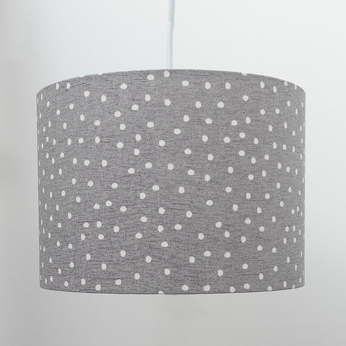 Eco Friendly Grey Dotted Ethical Cotton Fabric Handmade Drum Lampshade