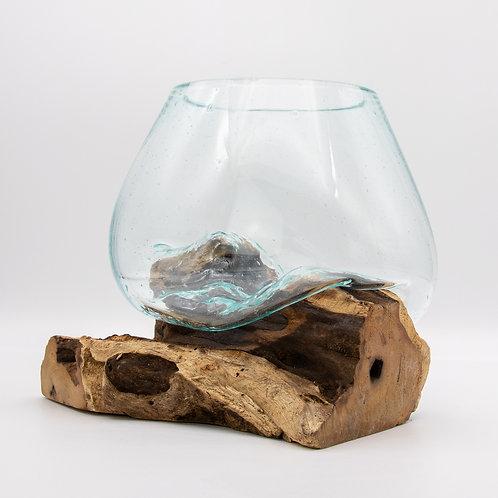 Fairtrade Handmade Balinese Reclaimed Glass & Teak Bowl - Piece Four