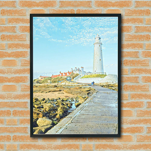 Eco Friendly Lighthouse Seaside English Coast Harbour Cornwall Picture Wall Art Print Handmade