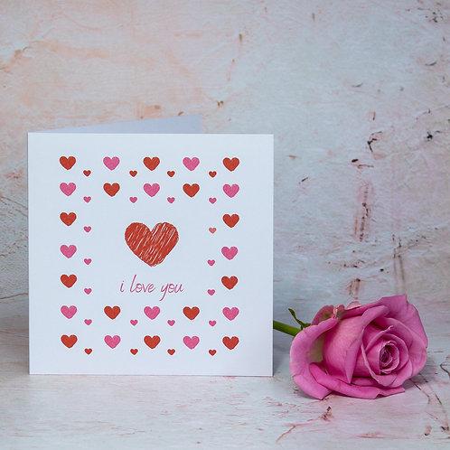 I Love You eco-friendly handmade recycled valentine's, anniversary, wedding, birthday card