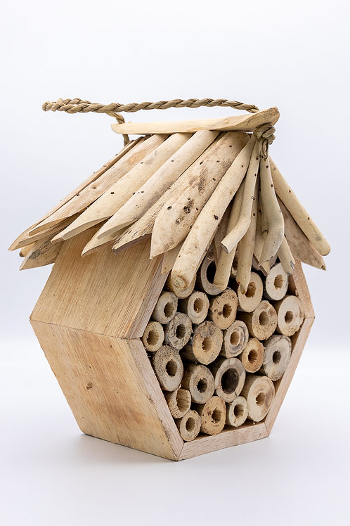 Handmade Fair Trade Hexagonal Driftwood Bee & Bug Hotel