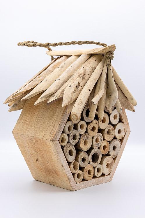 Handmade Fair Trade Hexagonal Driftwood Bee & Bug Hotel