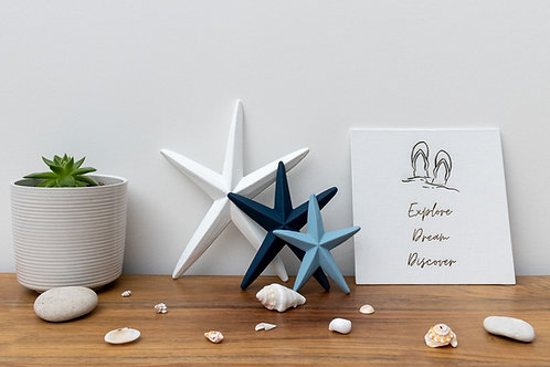 Blue and White Wooden Eco-Friendly Handmade Starfish Decorations