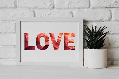 Love Stencil Graphic Red Pink Gradient Word Landscape FSC Eco-Friendly Art Print