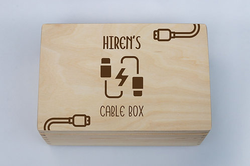 Engraved Wooden Cable Box Personalised handmade bits and bobs gifts for him man