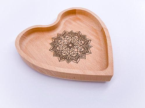 Mandala engraved eco-friendly handmade solid beech wood heart tray