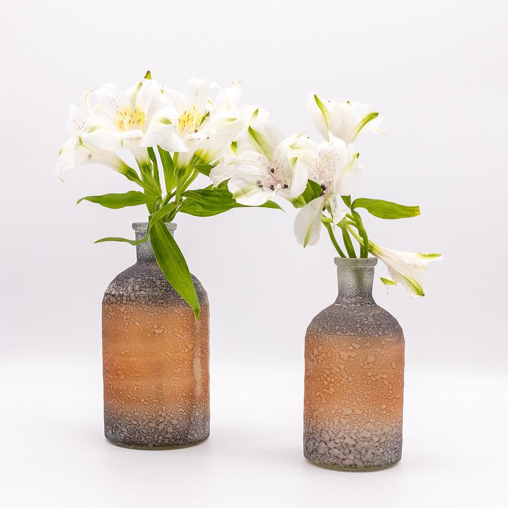 Recycled Glass Stem Vase Bottles