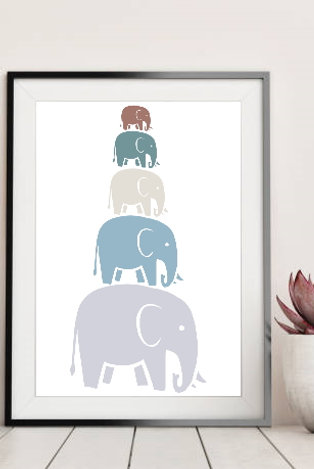 Elephant Family Pyramid - Wall Art Print