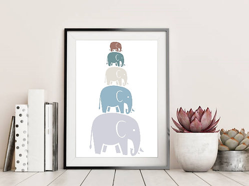 Elephant Stacked Family Wall Art Print - Ethical, Handmade, UK, Eco-Friendly, Zero-Waste, FSC Certified Sustainable Paper
