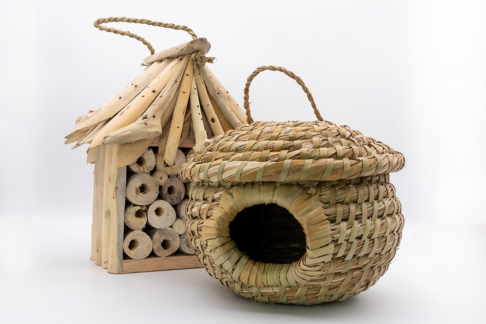 Ethical fairtrade beautiful natural wooden straw woven birdhouse, bughouse bee house hotel